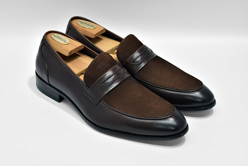 Coffee Mix Leather Penny Loafers R06