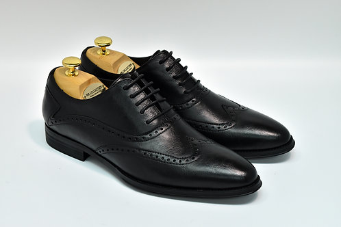 Black Soft Leather Brogue Oxford K01