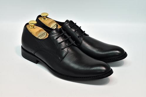 Black Soft Leather Plain-toe Derby J02