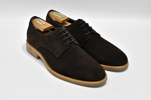 Coffee Nubuck Plain-toe Derby R07