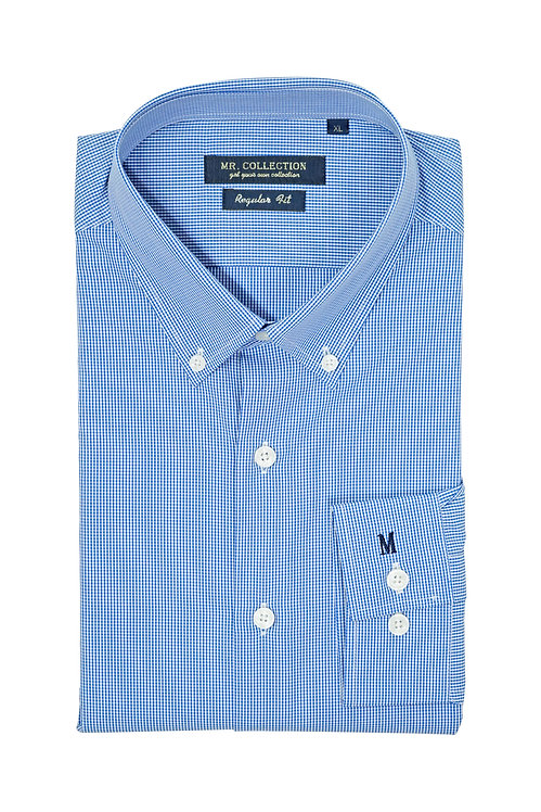 Blue Gingham Check Button-down Shirt