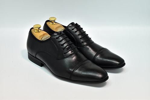 Black Soft Leather Cap-toe Oxford J05