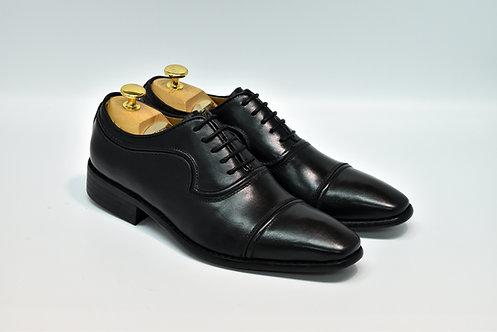 Black Calf Leather Cap-toe Oxford H07