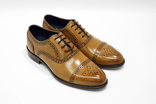 Ladies Tan Calf Leather Semi-Brogue Oxford LO01