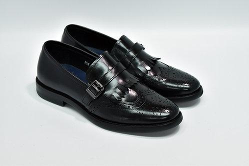Ladies Black Calf Leather Wingtip Kiltie Monk J54