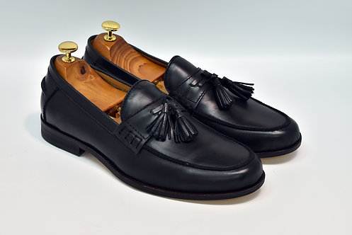 Black Calf Leather Tassel Loafers H96
