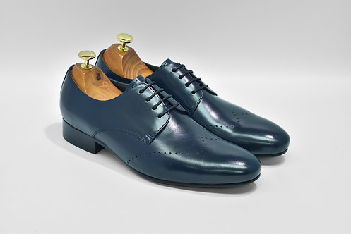 Navy Calf Leather Plain-toe Derby