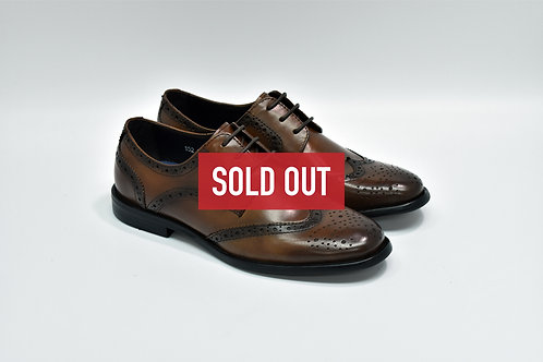 Ladies Burnish Brown Calf Leather Brogue Derby I52