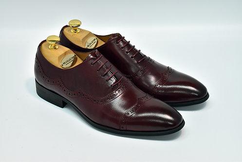 Cherry Calf Leather Cap-toe Oxford I20
