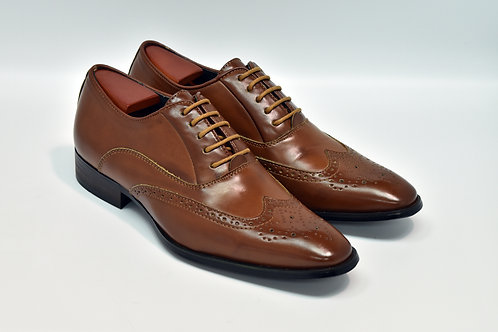 Brown Soft Leather Wingtips Oxford H01