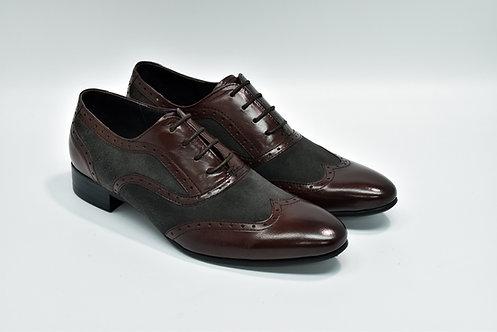 Ladies Marron&Grey Mix Leather Wingtipe Oxford J55