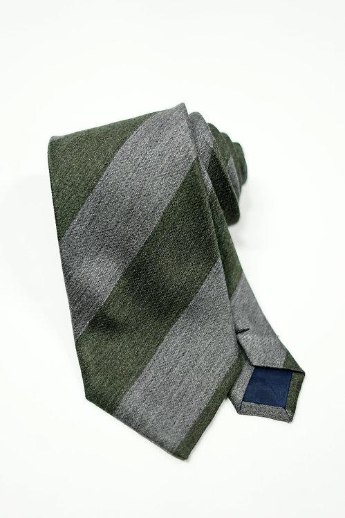 Forrest Green & Grey Stripe Silk Tie