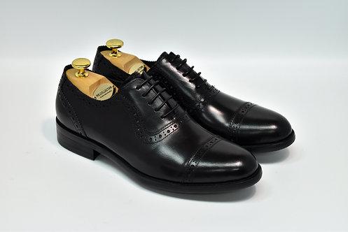 Black Calf Leather Cap-toe Oxford H10
