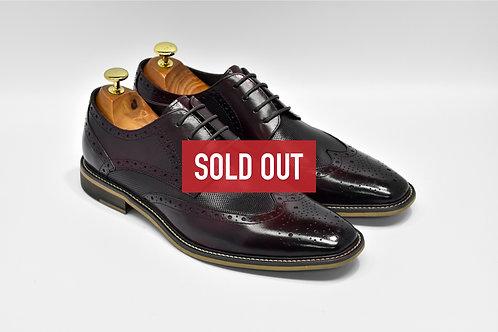Maroon Calf Leather Brogue Derby