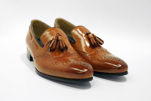 Ladies Brown Calf Leather Brogue Tassels Loafers LO04