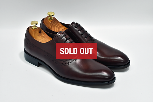 Maroon Calf Leather Plain-toe Oxford Q08