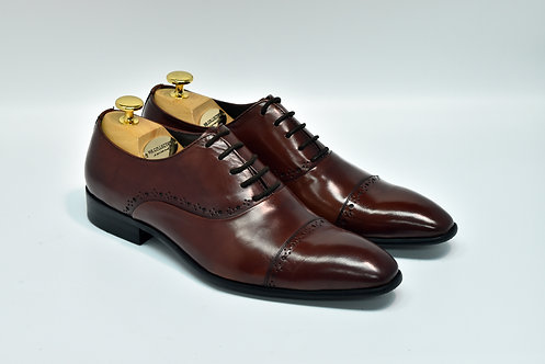 Maroon Calf Leather Cap-toe Oxford F08