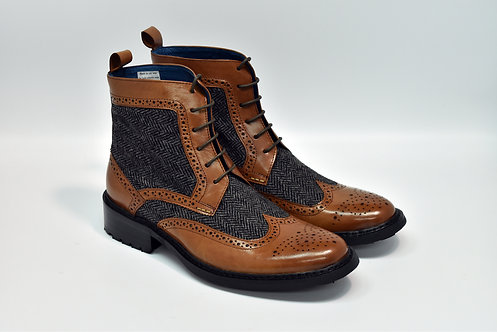 Brown Leather & Grey Wool Mix Brogue Derby Boots P88