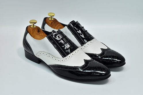 Black&White Patent Leather Brogue Oxford H11