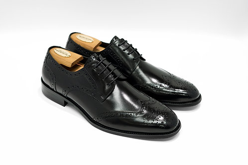 Black Calf Leather Brogue Derby T01