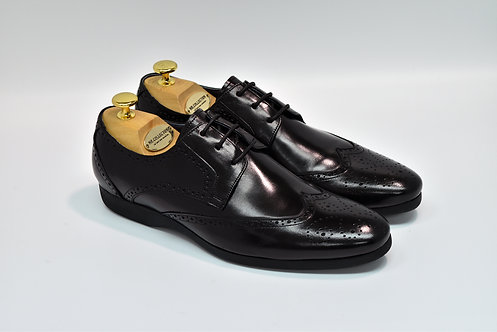 Black Calf Leather Wingtip Blucher