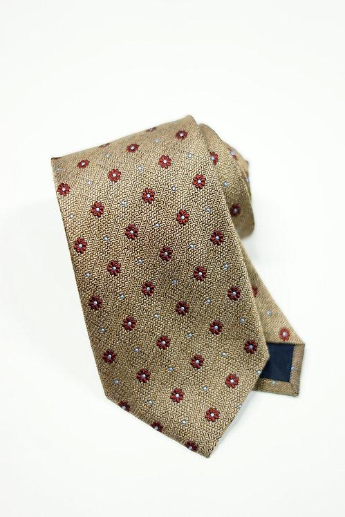 Khaki & Red Floral Spot Silk Tie
