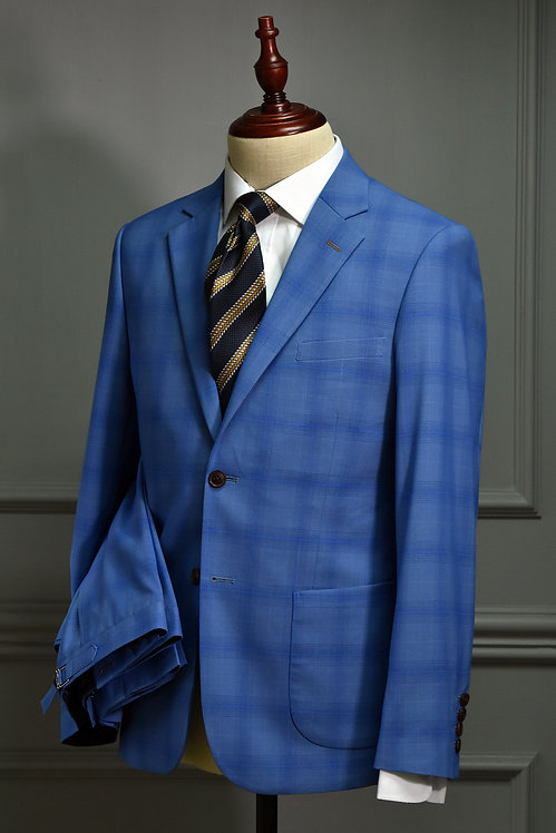 Blue Tartan Plaid Suit