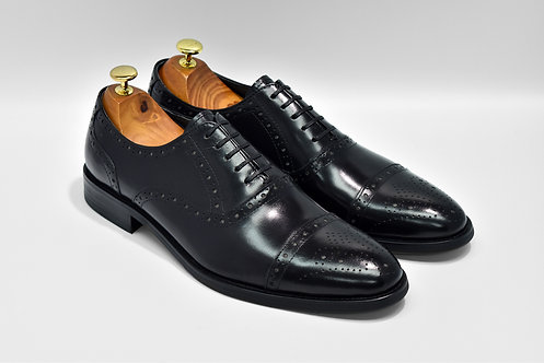 Black Calf Leather Cap-toe Brogue Oxford N04