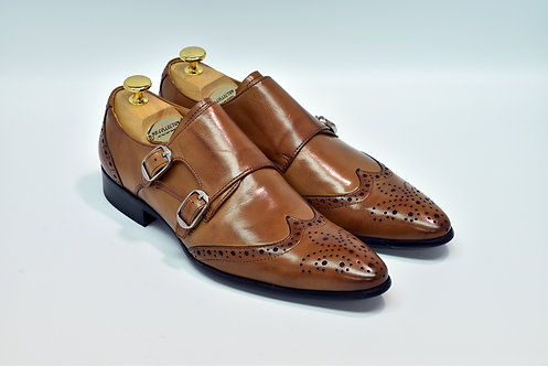 Brown Calf Leather Wingtip Double Monk I24