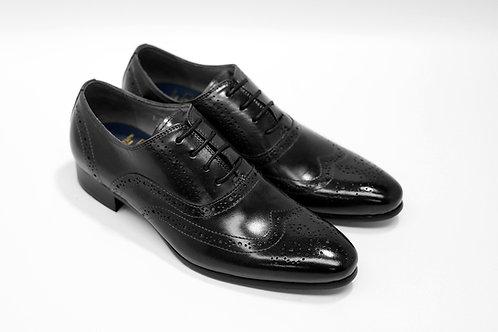 Ladies Black Calf Leather Brogue Oxford LO05