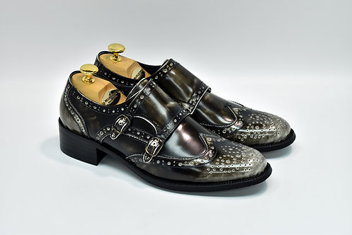 Ladies Burnish Black Solovair Leather Brogue Double Monk H52
