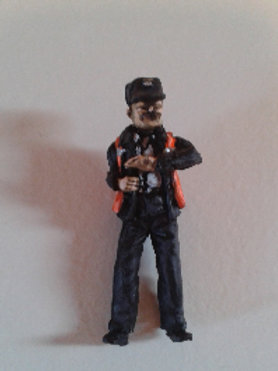 O Gauge BR Second Man with High Viz Vest, Leaning out of Window