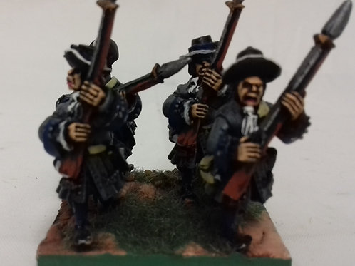 Musketeers with Cartridge Box, Advancing with Plug Bayonet