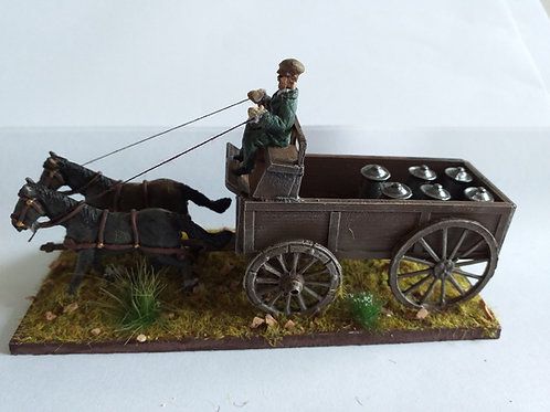 2 horse wagon with milk churns and driver