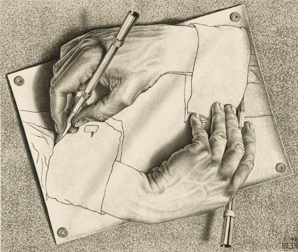 Manos entrelazadas de Escher, recordando la burocracia