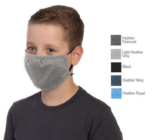3 Ply Youth Cotton or Cotton Blend Face Mask, Adjustable Earloops -YDTMSK02