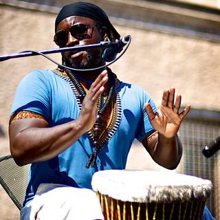 Djimbe drummer in Piazza Farnese, Rome