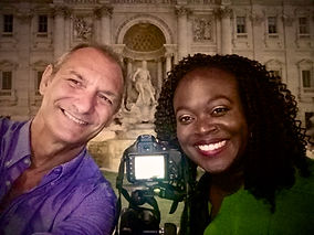 Selfie at Trevi Fountain with a USA client on the Unique Rome Photo Tour from Dusk to Dawn provided by Giulio D'Ercole, Rome Photo Fun Tours
