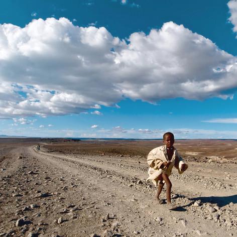 Walking in the desert.