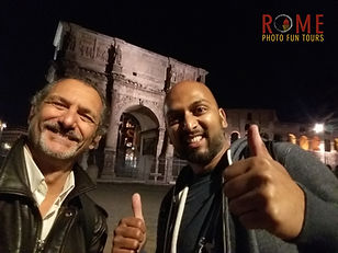 Happily posing with an Indian client on a Rome by Night Photo Tour Under the Stars, provided by Giulio D'Ercole of Rome Photo Fun Tours