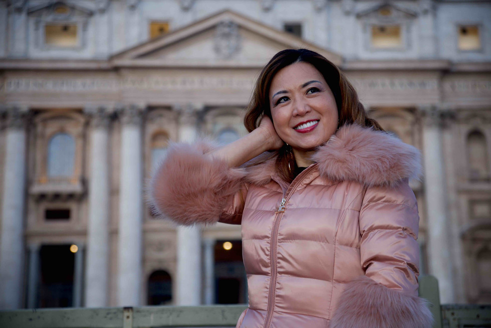 Posing at St. Peter's square, Rome