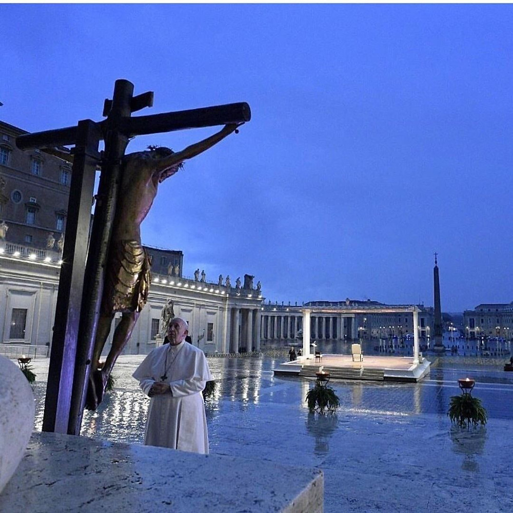 The deep, symbolic value of a magical, religious and spiritual cathartic rite. Pope Francis prays God to save us. Photo by Vatican Media