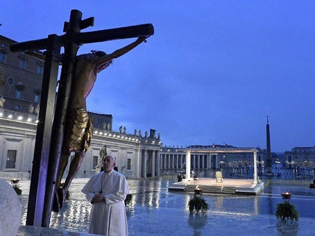 157. Pope Francis, prays alone in a spooky and empty  St. Peter's Square
