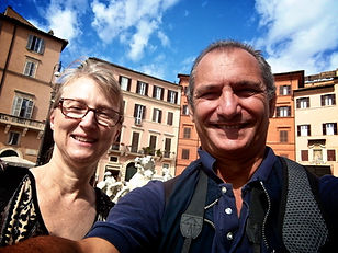 Posing in Piazza Navona, during a Rome by Day, Beauty and History Photo Tour, provided by Giulio D'Ercole of Rome Photo Fun Tours.