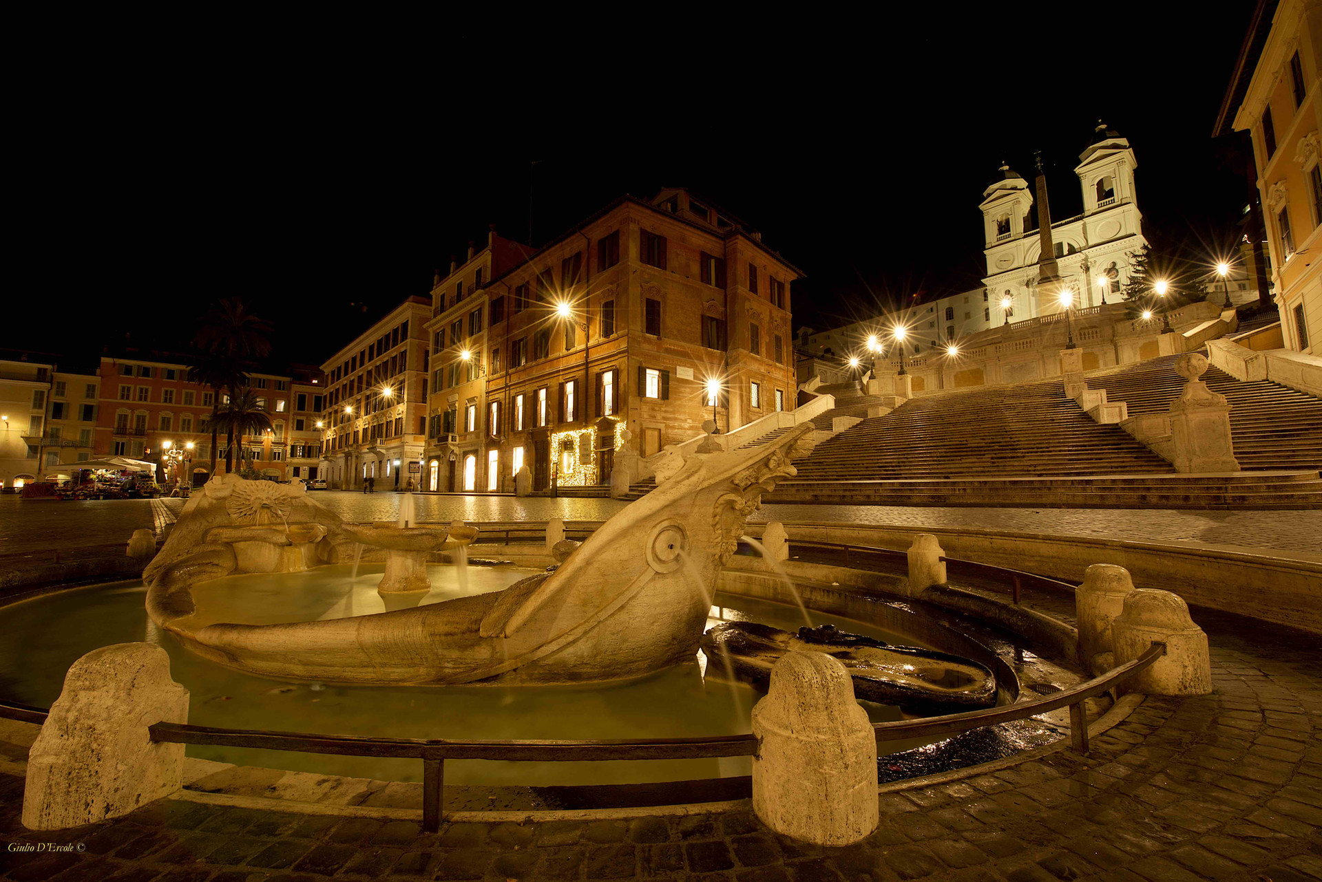 Piazza di Spagna and the Spanish steps.