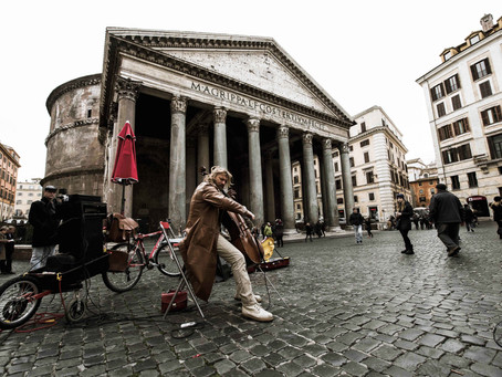 131. Street musician performing at Pantheon, a joy for eyes and ears.