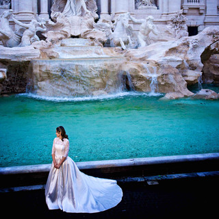 Young Bride at the Trevi Fountain in Ro