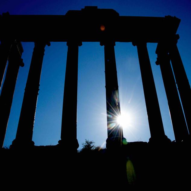 A Roman Temple silhouette