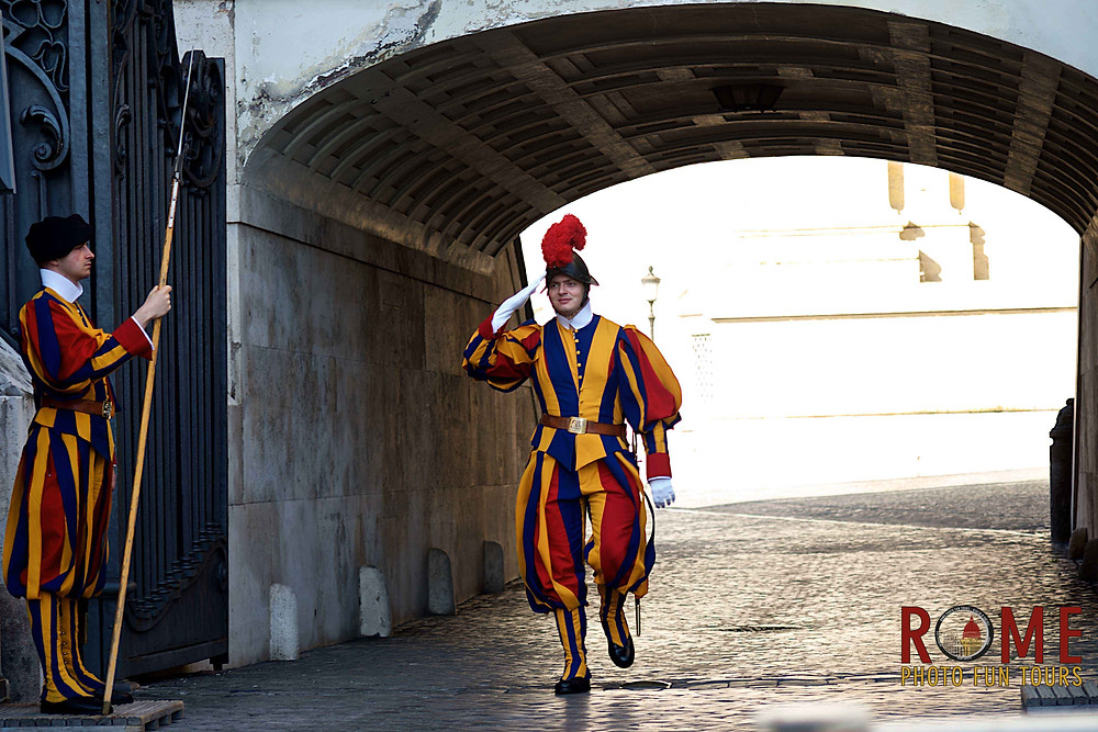 Capturing the colorful charm of the Swiss Guards in the Vatican City is one of the many things you'll do with Giulio D'Ercole's Rome Photo Fun Tours.
