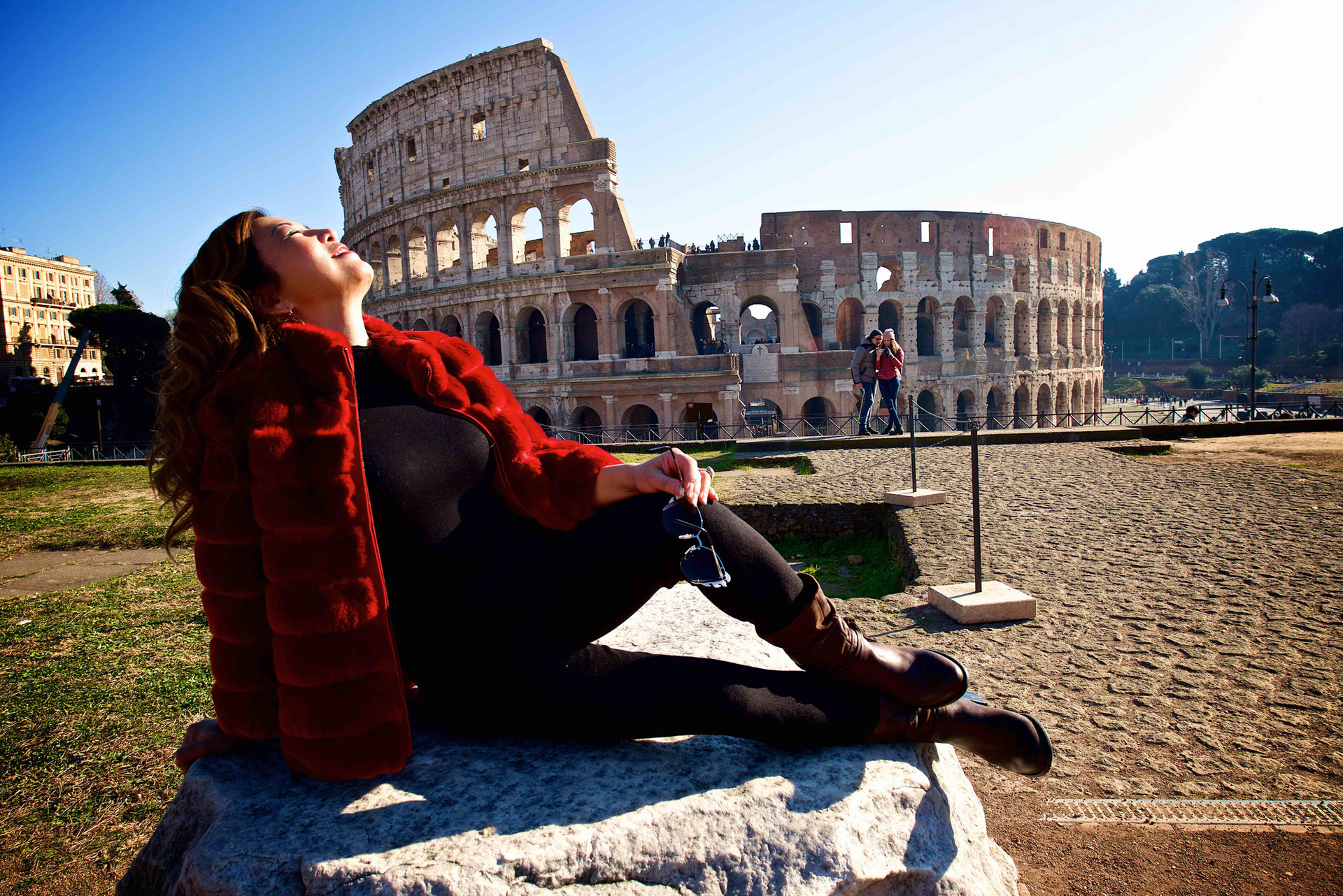 Enjoying the sun at Colosseum, Rome
